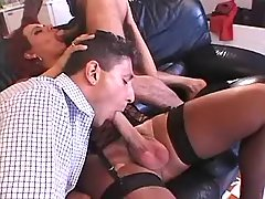 Guys spoil redhead shemale on sofa