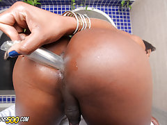 Watch this Brazilian beauty stroke her shecock and stuff her ass!