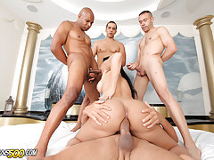 Watch Tgirl Bruna Butterfly in her first gangbang scene!